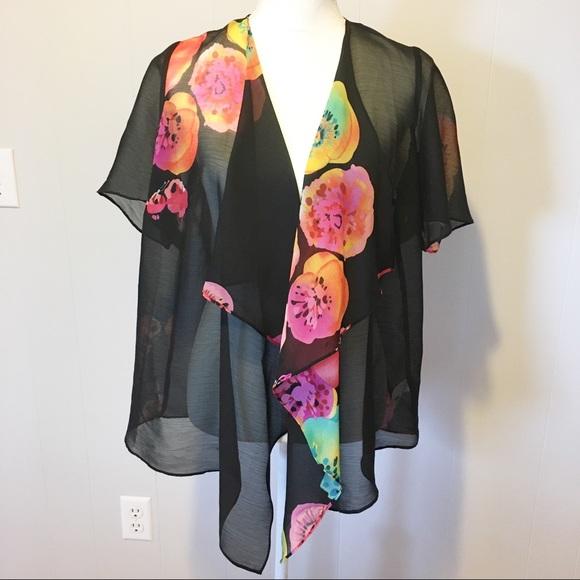 Susan Graver Jackets & Blazers - Susan Graver Kimono XS Black,Yellow, Pinks,Orange